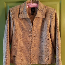 Sharon Young Womens Sz 8 Brown Snake Skin Design Faux Leather Lightweight Jacket