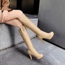 Women's High Heel Round Toe Platform Zip Knee Mid Calf High Boots Size 34-43 New