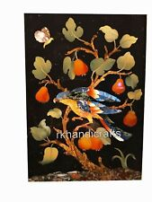 12 x 18 Inches Marble Wall Panel Black Coffee Table Top with Beautiful Inlay Art