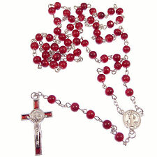 Round red St. Benedict cross rosary beads silver chain 50cm length necklace