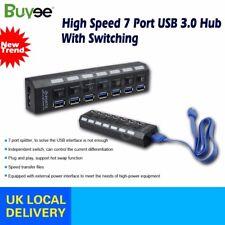 USB 3.0 Long Cable High Speed 7 Port USB Multi HUB Splitter Expansion Black UK