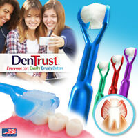 4-PK | DenTrust The Only Child-Safe 3-Sided Toothbrush | Clinically Proven | USA