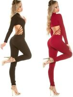 Overall mit Rücken Cut-Out * S-XL Catsuit Jumpsuit Bodysuit langarm figurbetont