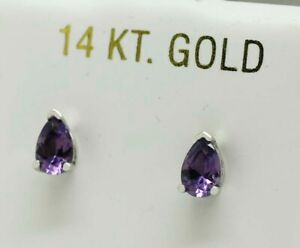 ALEXANDRITE 1.36 Cts STUD EARRINGS 14K WHITE GOLD * New With Tag *