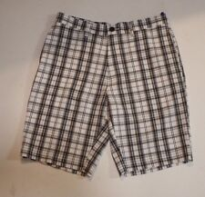 Men Golf Shorts flat Front White and Grey Plaid Hagger H26 Size 30 Slip Pockets
