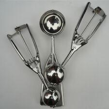 3Pcs Silver Ice Cream Cookie Dough Scoop Mash Stainless Steel Spoon 4+5+6 CM Set