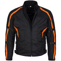 kurze Motorradjacke Cordura Textil Roller Biker Schwarz Orange Gr. M bis 6XL 784
