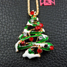 Betsey Johnson Green Enamel Christmas Tree Crystal Necklace Sweater Chain