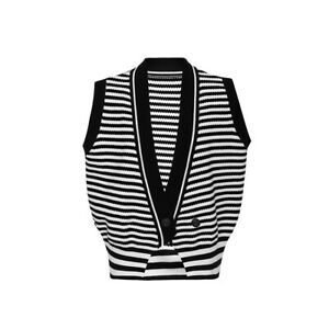 2021 new woman Button Sweater Vest Knitted Shawl Collar Sleeveless  S-L