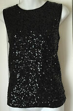 Sleeveless Black Sequined Sweater by Linda Allard for Ellen Tracy $245 Size S