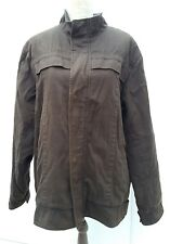 M&Co Mens Size L Large Brown Jacket Coat Autumn Wear Faux Fur Lined Zip