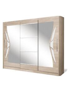 3 Door Sliding Wardrobe. Oak Sonoma/White Gloss/Mirror.DOME/DO8-24.BRAND NEW.