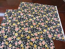 Japanese Cotton Fabric Squares (Black Floral) Sevenberry
