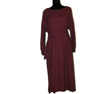 Prologue Women's Casual Fit Long Sleeve Boat Neck Midi Shift Dress Red L/XL