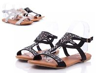 Black New Glitter Casual Summer Slingback Sexy Flats Womens Sandals Size 6.5