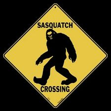 "SASQUATCH--Bigfoot CROSSING Sign, 12"" by 12"" sides-16"" on Diagonal-Indoor/Out-"