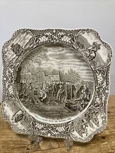Native American Indian Pochahontas Mayflower Colonial Times Crown Ducal Plate