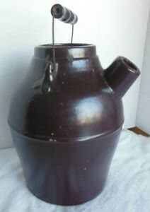 """Antique Brown Glazed Stoneware BATTER Jug W/SPOUT,WIRE WOOD HANDLE 11""""TALL"""