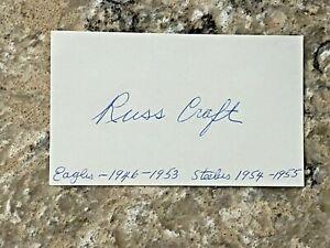 Russ Craft signed 1950's Philadelphia Eagles Steelers Index Card JSA d. 2009