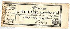 FRANCE MANDAT TERRITORIAL PROMESSE 25 FRANCS 1796 VENTÔSE AN 4 LARGE BUGAREL