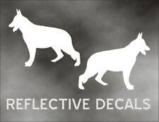 REFLECTIVE PAIR DECAL GERMAN SHEPHERD guard dog in WHITE