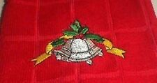 Christmas Hand Towel Red with Embroidered Silver Bells. Kitchen or Bathroom