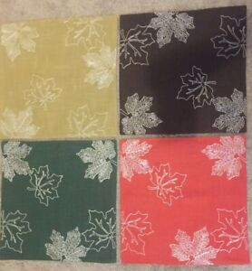 """Autumn Placemats leaves design set of 4...green orange yellow brown 15"""" x 15"""""""