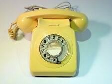 VINTAGE TELEPHONE GPO 746 ROTARY DIAL YELLOW/ TESTED & CONVERTED RJ45 PLUG VGC