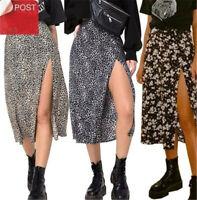 Women Leopard Floral Long Skirts High Waist Midi Skirt Split Wrap Skirt Beach