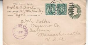 1918 Philippines U30 (UPSS 52a),#276(2) on censored postal stationery to US *d