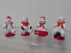 Coca Cola 4 x Promo Figur Werbefigur Eisbär Werbung Winter Edition 2002 Set ovp