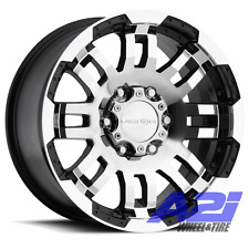 "18"" Vision Warrior Black Machined Truck Wheel 18x8.5 6x135 25mm Ford 6 Lug F150"