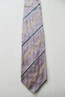 HUGO BOSS Krawatte Schlips Tie Lila glänzend gestreift 100% Seide Luxus (A4/57)