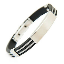 EG_ Unique Rubber 2 Layers Stainless Steel Men's Wristband Bangle Bracelet Jewel