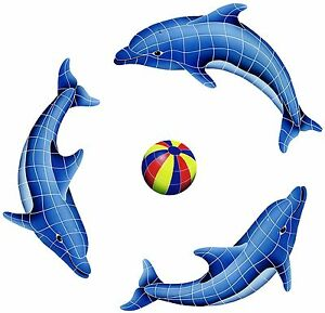 Mosaic Dolphins and Beach Balls for Swimming Pool or Wall  - many choices
