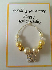 Wine Glass Charm 30th 40th 50th 60th 65th Birthday ]Gold Silver in gift bag