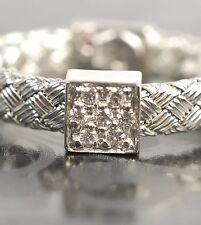Roberto Coin Diamond 18K White Gold Woven 6.25 Ring Women Lady Valentine Gift