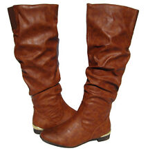 New Ladies Riding Knee High Boots Cognac winter snow shoes Women's size 6.5