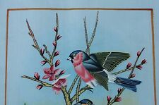 BEAUTIFUL INDIAN HAND MADE WATER COLOR PAINTING OF WILD BIRDS ON SILK  - ART