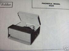 PHONOLA 4459 PHONOGRAPH PHOTOFACT