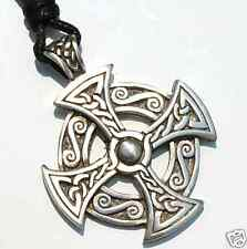 25B Celtic SOLAR CROSS Silver PEWTER PENDANT Necklace