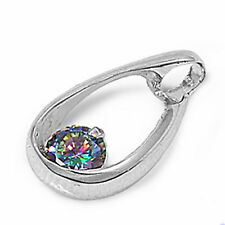 Free Ship! BEAUTIFUL GIFT! Rainbow Colored Topaz Drop Floating Pendant MUST SEE!