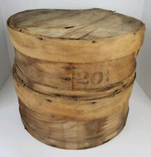 (2) Vintage Large Round Wooden Cheese Boxes w/ Lids Farm House Decor Container