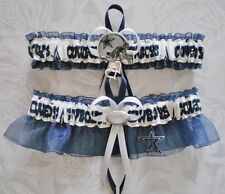 Dallas Cowboys Fabric  Wedding Garter Set Prom  Football Charm Navy Blue