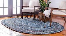 Handmade Braided Oval Rug Multi Colour Denim Chindi 6x9 Feet Yoga Meditation Mat