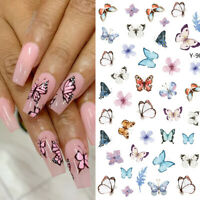 3D Nail Stickers Butterfly Series Transfer Decals Nail Art Decoration Paper Tips