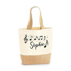 Personalised Tote Bag Custom Name Music Note Jute Base Canvas Tote Bag