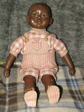 Sarah'S Attic Black Composite And Cloth Doll - Boy In Pink Overalls Ltd Ed.