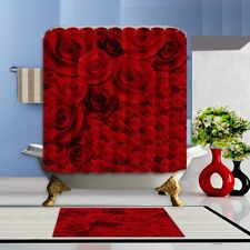 Valentine's Day Rose Waterproof Polyester Fabric Bathroom Shower Curtain Mat Set