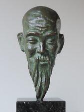 Chinese MOINE MONK philosophe penseur masque visage sculpture bronze granit